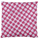 HOUNDSTOOTH2 WHITE MARBLE & PINK DENIM Large Flano Cushion Case (Two Sides) Front