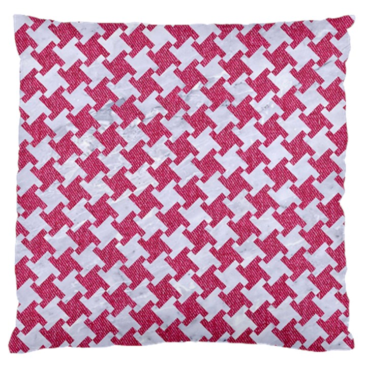 HOUNDSTOOTH2 WHITE MARBLE & PINK DENIM Large Flano Cushion Case (Two Sides)