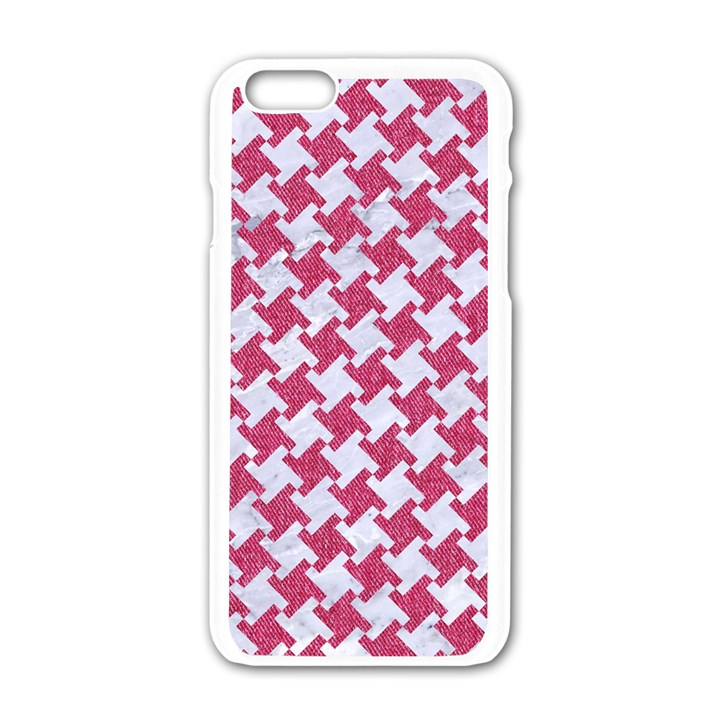 HOUNDSTOOTH2 WHITE MARBLE & PINK DENIM Apple iPhone 6/6S White Enamel Case