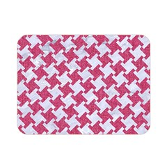 Houndstooth2 White Marble & Pink Denim Double Sided Flano Blanket (mini)