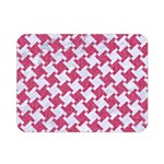 HOUNDSTOOTH2 WHITE MARBLE & PINK DENIM Double Sided Flano Blanket (Mini)  35 x27 Blanket Front
