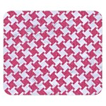 HOUNDSTOOTH2 WHITE MARBLE & PINK DENIM Double Sided Flano Blanket (Small)  50 x40 Blanket Front