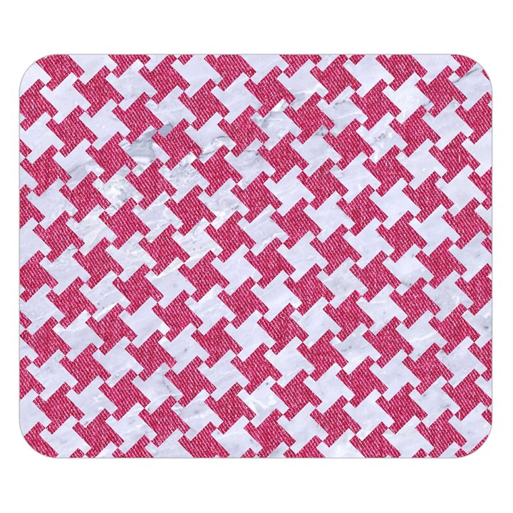HOUNDSTOOTH2 WHITE MARBLE & PINK DENIM Double Sided Flano Blanket (Small)