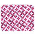 HOUNDSTOOTH2 WHITE MARBLE & PINK DENIM Double Sided Flano Blanket (Medium)  60 x50 Blanket Front