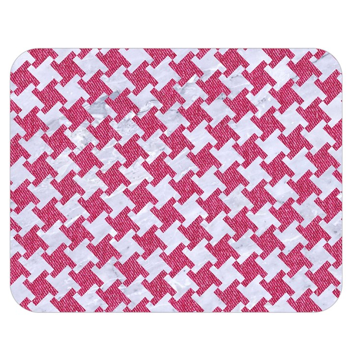 HOUNDSTOOTH2 WHITE MARBLE & PINK DENIM Double Sided Flano Blanket (Medium)