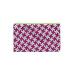 HOUNDSTOOTH2 WHITE MARBLE & PINK DENIM Cosmetic Bag (XS) Front