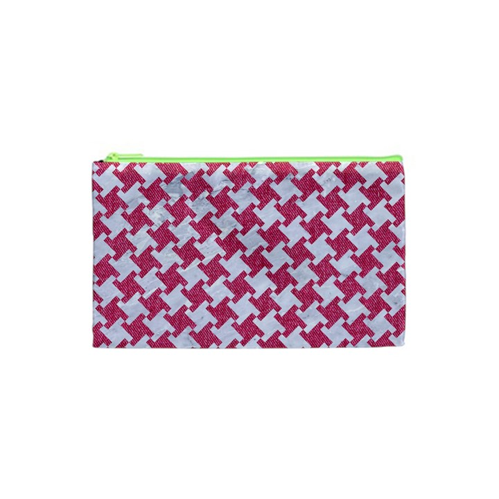 HOUNDSTOOTH2 WHITE MARBLE & PINK DENIM Cosmetic Bag (XS)