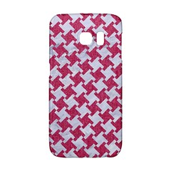 Houndstooth2 White Marble & Pink Denim Galaxy S6 Edge