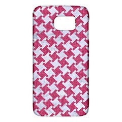 Houndstooth2 White Marble & Pink Denim Galaxy S6