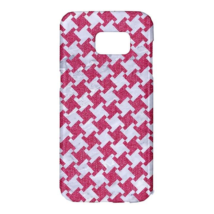 HOUNDSTOOTH2 WHITE MARBLE & PINK DENIM Samsung Galaxy S7 Edge Hardshell Case