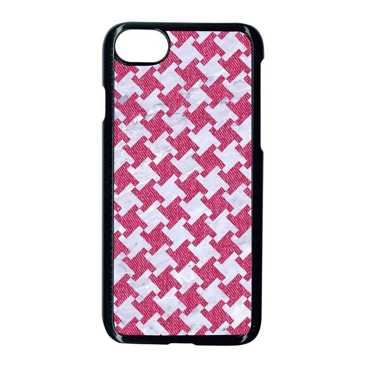 HOUNDSTOOTH2 WHITE MARBLE & PINK DENIM Apple iPhone 7 Seamless Case (Black)