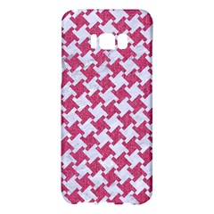 Houndstooth2 White Marble & Pink Denim Samsung Galaxy S8 Plus Hardshell Case