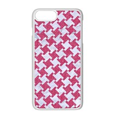 Houndstooth2 White Marble & Pink Denim Apple Iphone 8 Plus Seamless Case (white)