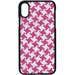 Houndstooth2 White Marble & Pink Denim Apple Iphone X Seamless Case (black)