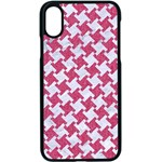 HOUNDSTOOTH2 WHITE MARBLE & PINK DENIM Apple iPhone X Seamless Case (Black) Front