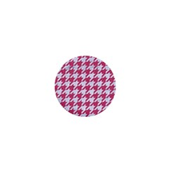 Houndstooth1 White Marble & Pink Denim 1  Mini Magnets
