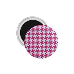 Houndstooth1 White Marble & Pink Denim 1 75  Magnets