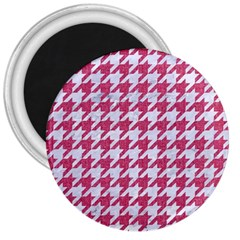 Houndstooth1 White Marble & Pink Denim 3  Magnets