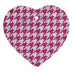 HOUNDSTOOTH1 WHITE MARBLE & PINK DENIM Ornament (Heart) Front