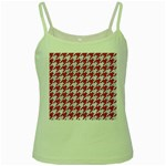 HOUNDSTOOTH1 WHITE MARBLE & PINK DENIM Green Spaghetti Tank Front