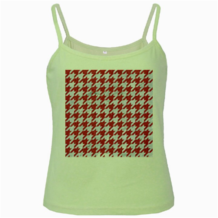 HOUNDSTOOTH1 WHITE MARBLE & PINK DENIM Green Spaghetti Tank