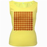 HOUNDSTOOTH1 WHITE MARBLE & PINK DENIM Women s Yellow Tank Top Front