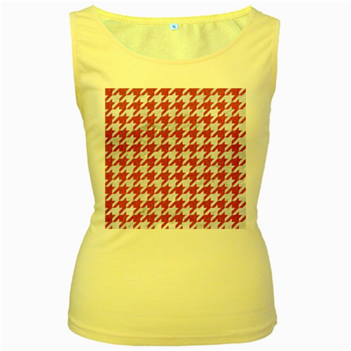 HOUNDSTOOTH1 WHITE MARBLE & PINK DENIM Women s Yellow Tank Top