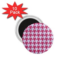 Houndstooth1 White Marble & Pink Denim 1 75  Magnets (10 Pack)
