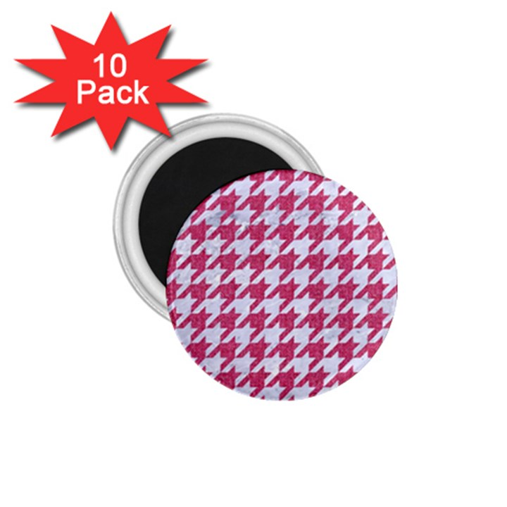 HOUNDSTOOTH1 WHITE MARBLE & PINK DENIM 1.75  Magnets (10 pack)