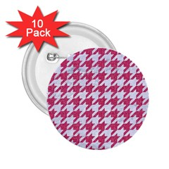 Houndstooth1 White Marble & Pink Denim 2 25  Buttons (10 Pack)