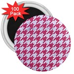 HOUNDSTOOTH1 WHITE MARBLE & PINK DENIM 3  Magnets (100 pack) Front