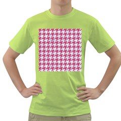 Houndstooth1 White Marble & Pink Denim Green T Shirt