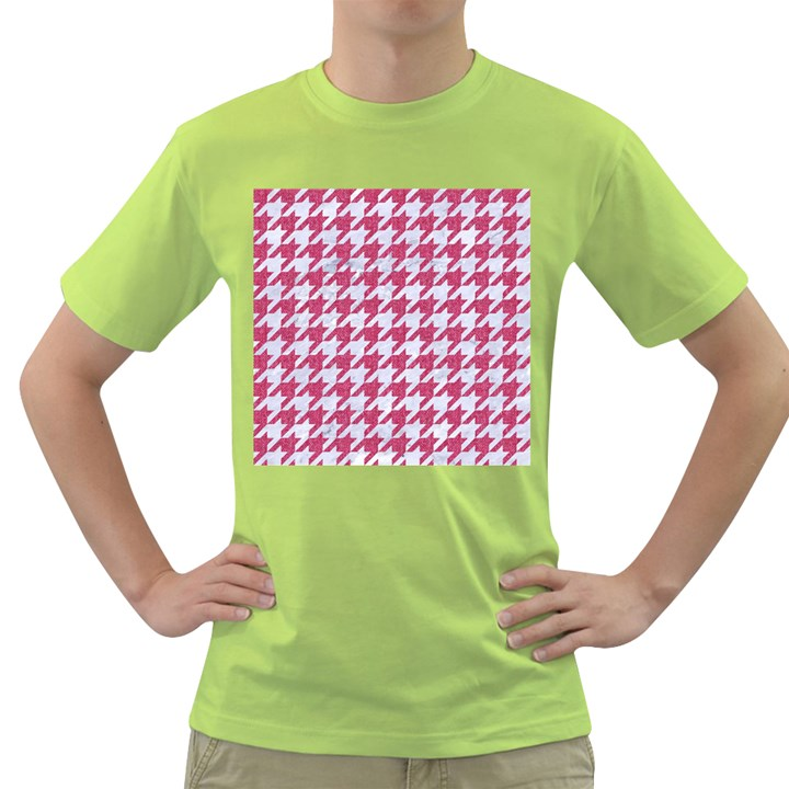 HOUNDSTOOTH1 WHITE MARBLE & PINK DENIM Green T-Shirt