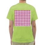 HOUNDSTOOTH1 WHITE MARBLE & PINK DENIM Green T-Shirt Back