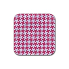 Houndstooth1 White Marble & Pink Denim Rubber Coaster (square)