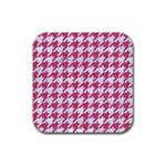 HOUNDSTOOTH1 WHITE MARBLE & PINK DENIM Rubber Square Coaster (4 pack)  Front