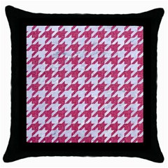 Houndstooth1 White Marble & Pink Denim Throw Pillow Case (black)