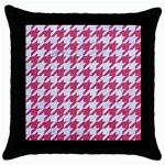 HOUNDSTOOTH1 WHITE MARBLE & PINK DENIM Throw Pillow Case (Black) Front