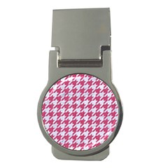 Houndstooth1 White Marble & Pink Denim Money Clips (round)