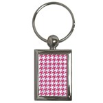 HOUNDSTOOTH1 WHITE MARBLE & PINK DENIM Key Chains (Rectangle)  Front
