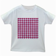 Houndstooth1 White Marble & Pink Denim Kids White T Shirts