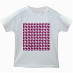 HOUNDSTOOTH1 WHITE MARBLE & PINK DENIM Kids White T-Shirts Front