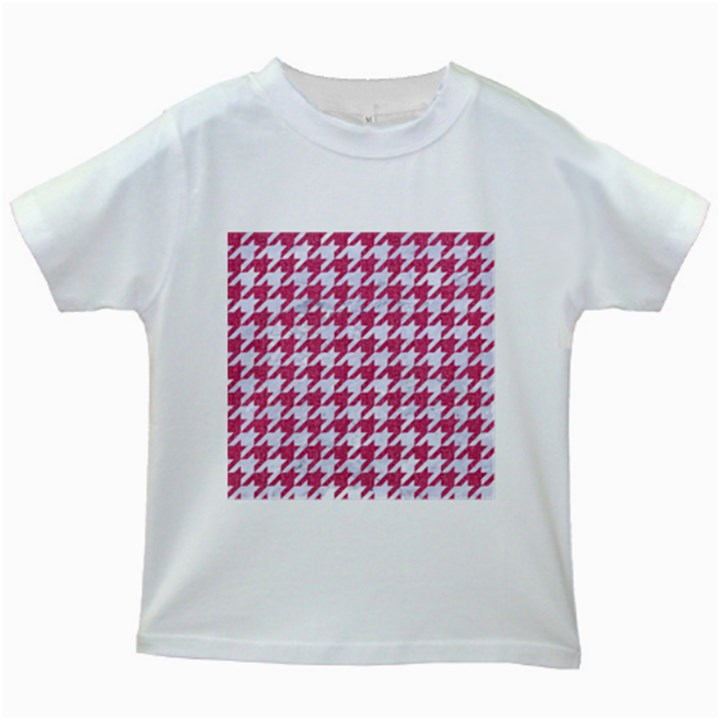 HOUNDSTOOTH1 WHITE MARBLE & PINK DENIM Kids White T-Shirts