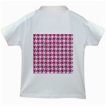 HOUNDSTOOTH1 WHITE MARBLE & PINK DENIM Kids White T-Shirts Back