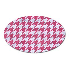 Houndstooth1 White Marble & Pink Denim Oval Magnet