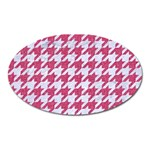 HOUNDSTOOTH1 WHITE MARBLE & PINK DENIM Oval Magnet Front