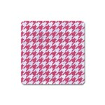 HOUNDSTOOTH1 WHITE MARBLE & PINK DENIM Square Magnet Front