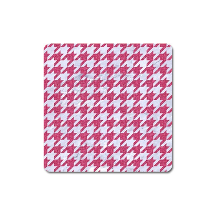 HOUNDSTOOTH1 WHITE MARBLE & PINK DENIM Square Magnet