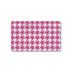 Houndstooth1 White Marble & Pink Denim Magnet (name Card) by trendistuff
