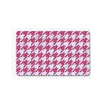 HOUNDSTOOTH1 WHITE MARBLE & PINK DENIM Magnet (Name Card) Front